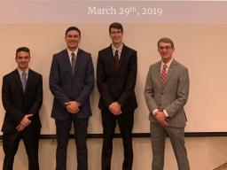 The officers from left to right include Joey Chandra (Vice President), Brendan Bond (President-Spring Semester), Josh Baldus (President-Fall Semester), and Blare Bauer (Secretary)