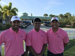 Left to right, Nakual Paliwal, Arihant Mittal, and TJ Loudner Represents UNL at PGAWORKS Championships in Florida.