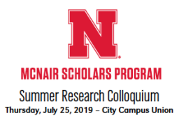 McNair Summer Research Colloquium on Thursday, July 25 begins at 1:30 p.m. in the City Campus Union Regency Suites.