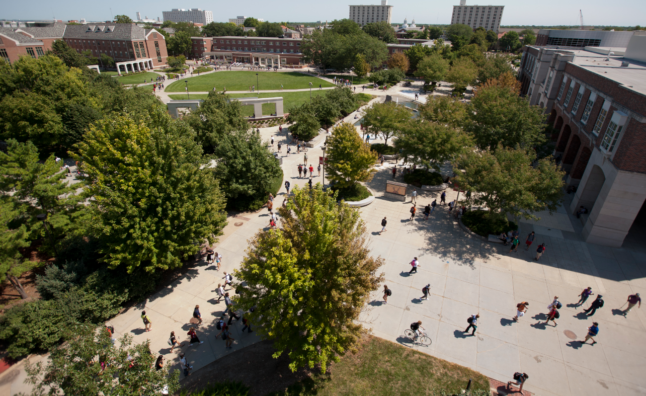 Students cross the Nebraska Union Plaza at the start of the fall 2011 semester. Photo by Craig Chandler|University Communications