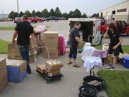 4-H staff transport all Lancaster County 4-H static exhibits for the Nebraska State Fair to Grand Island and back