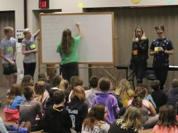 4-H Teen Council members plan, set up and facilitate the annual overnight  4-H Lock-In for 4th and 5th graders. The teens form four committees: games, education, crafts and food.