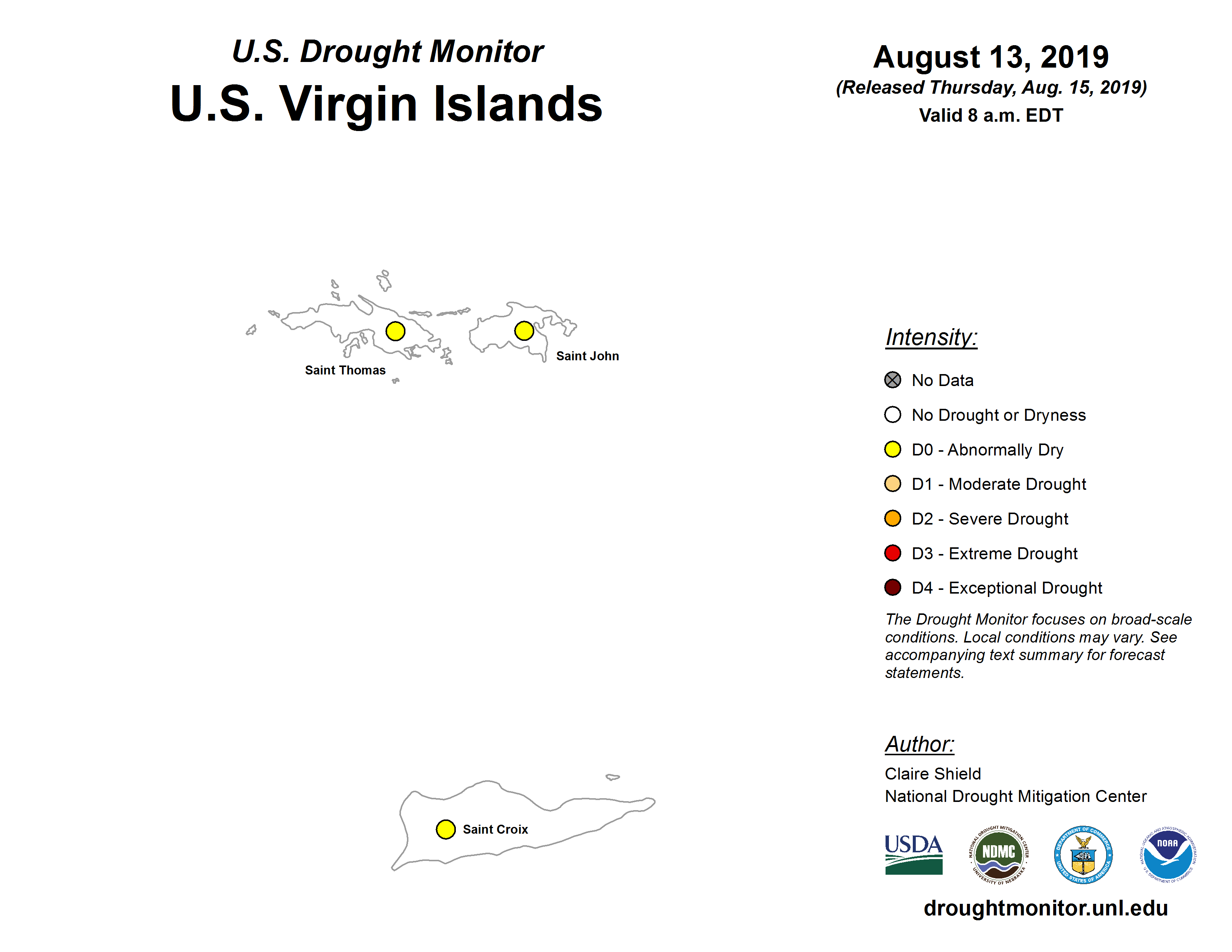 Over the  summer, the U.S. Drought Monitor expanded to include the U.S. Virgin Islands.   Courtesy the National Drought Mitigation Center