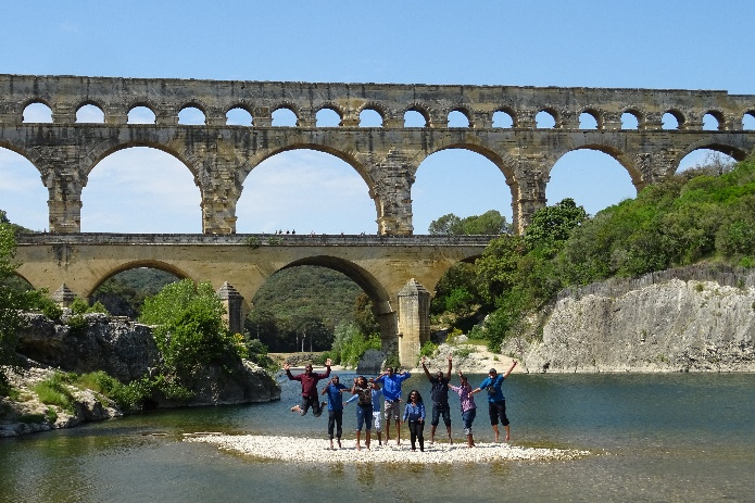 Built almost 2,000 years ago, the Pont du Gard bridge and aqueduct system in France continues to inspire visitors to the site, such as this group of NRT and IHE-Delft students.