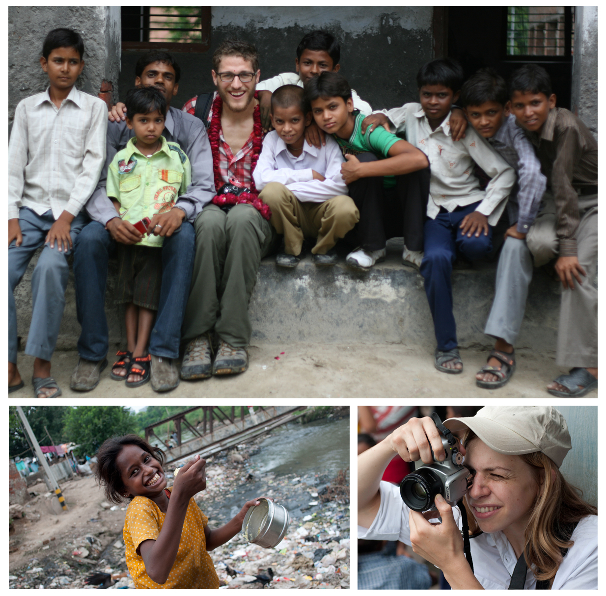 (Clockwise, from top) Matthew Masin poses with school children outside a classroom. Bethany Trueblood composes a photo at a school outside of Lucknow. A young girl eats her lunch in a Delhi slum. Photos by Matthew Masin.