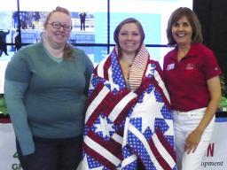 (L–R) 4-H volunteer Mary Burroughs; veteran and  4-H summer intern Rachel Wells; and 4-H staff member Kristin Geisert.