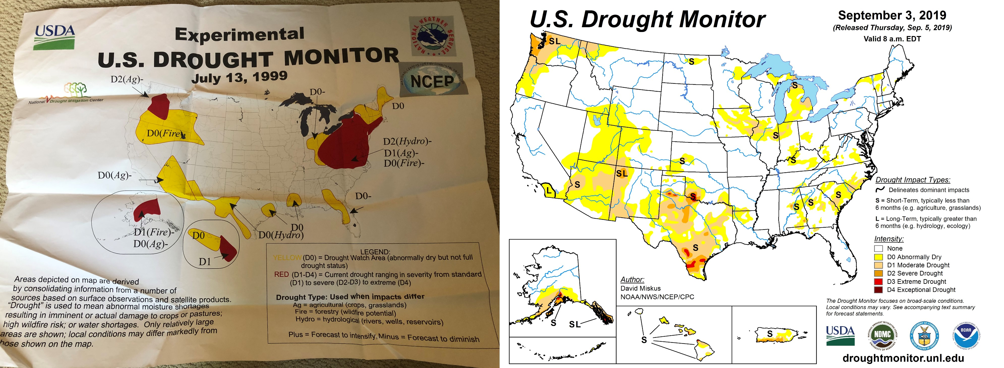The U.S. Drought Monitor, then and now. | Courtesy of the National Drought Mitigation Center
