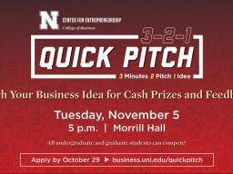 Apply now to compete in 3-2-1 Quick Pitch!