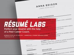 CASNR Career Services is hosting résumés labs for students.
