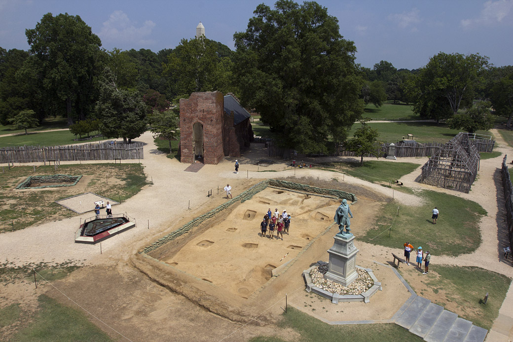The focus of this summer's Jamestown Rediscovery archaeological research and field school at Jamestown was the comprehensive excavation of the 1608-1617  church (foreground behind John Smith statue). The work uncovered a rectangular pattern of  postholes