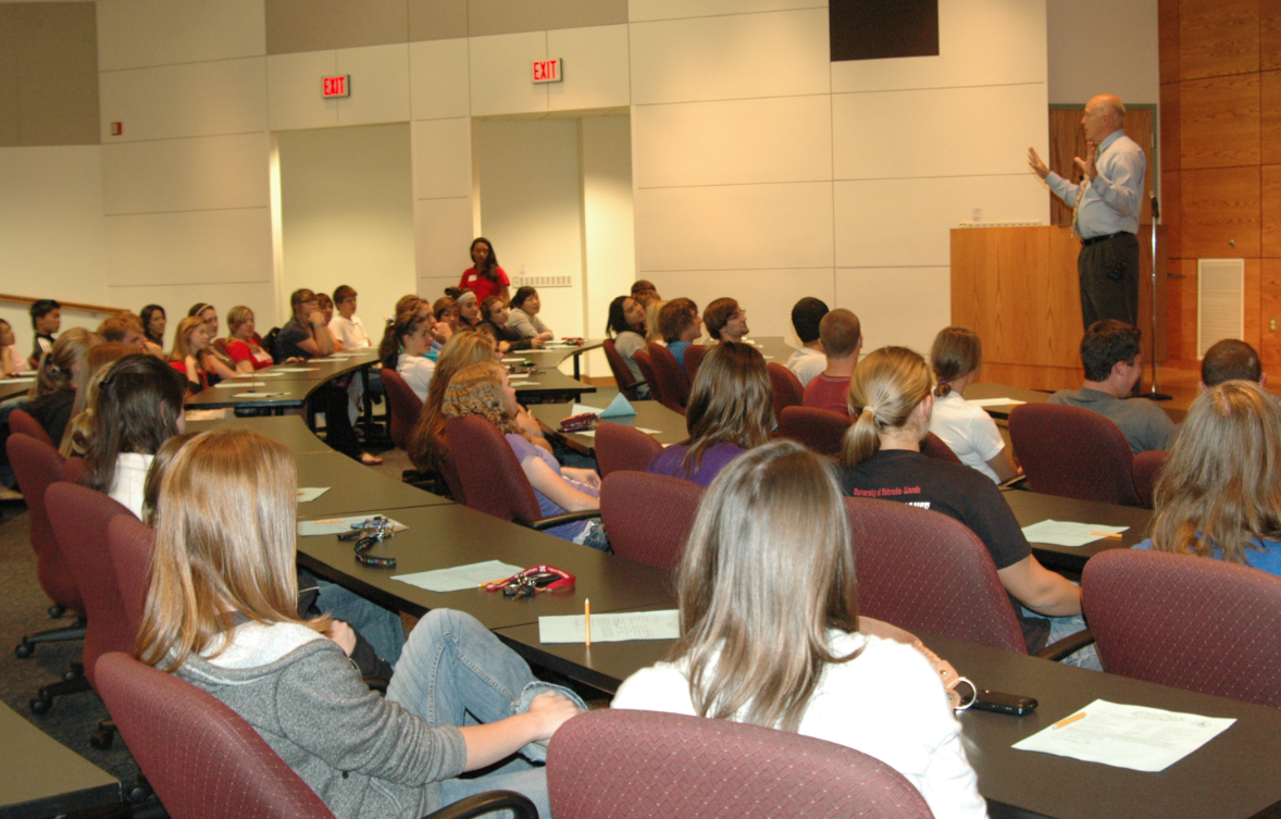 Pat McBride, associate dean of Admissions, leads a session during Mid-Semester Check on Sept. 19.