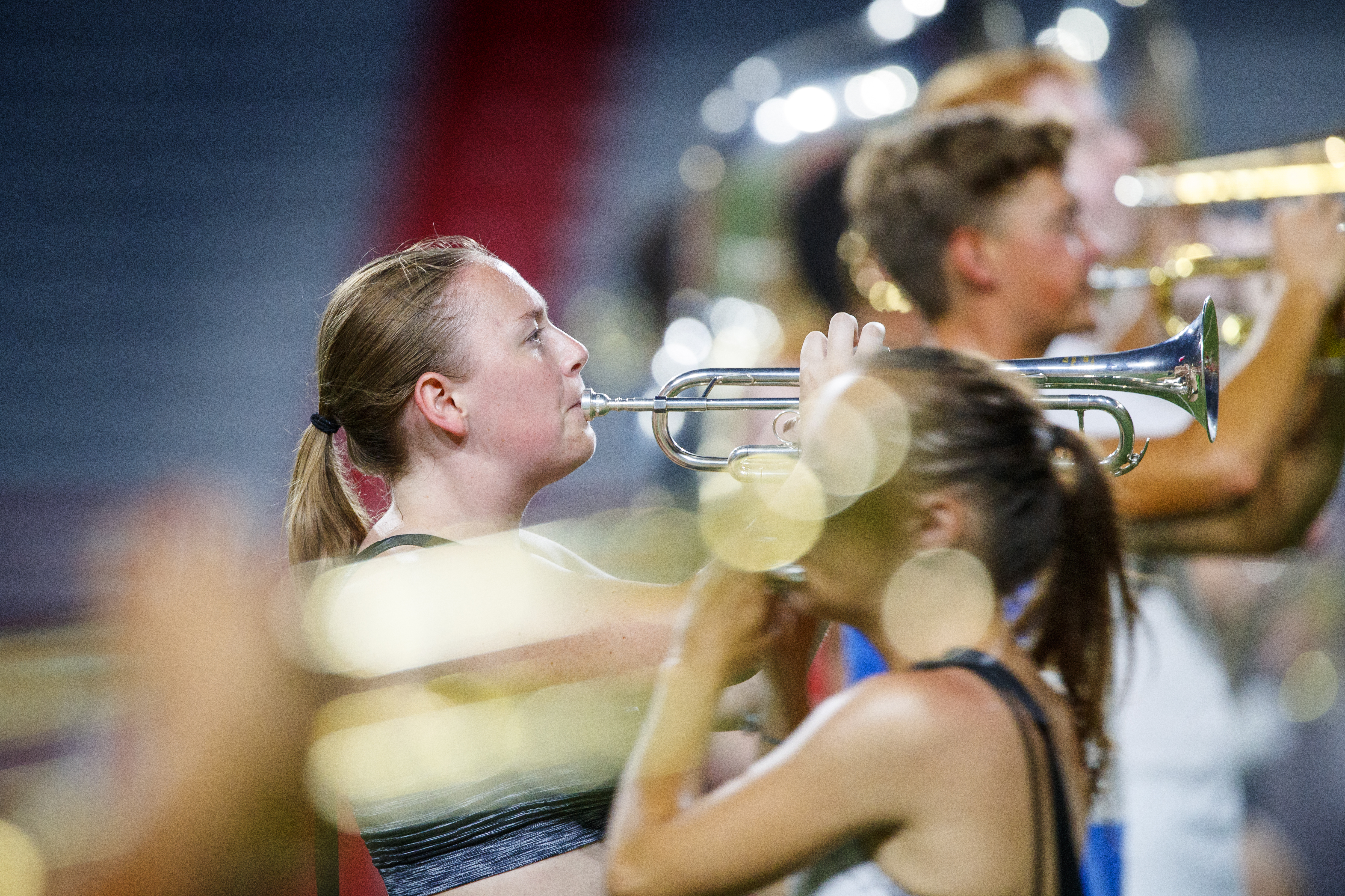 Jenna McCoy and the Cornhusker Marching Band goes through their pregame routing during Tuesday evening practice in Memorial Stadium. August 20, 2019.   Craig Chandler, University Communication