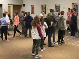 A game activity at the 2019 Teen Council Lock-In.