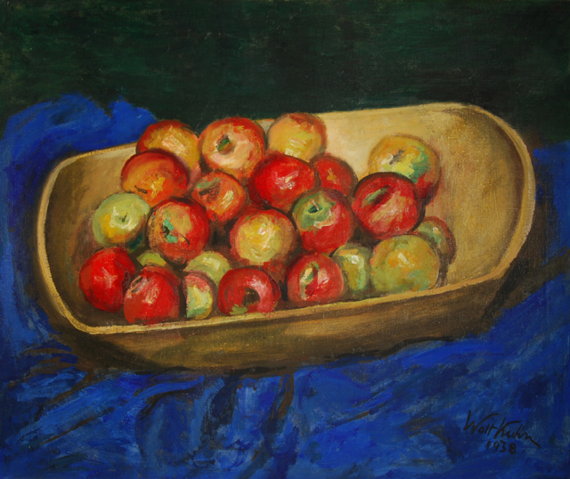 """Walt Kuhn's """"Apples in Wooden Boat,"""" oil on canvas, 1938; from the permanent collection"""