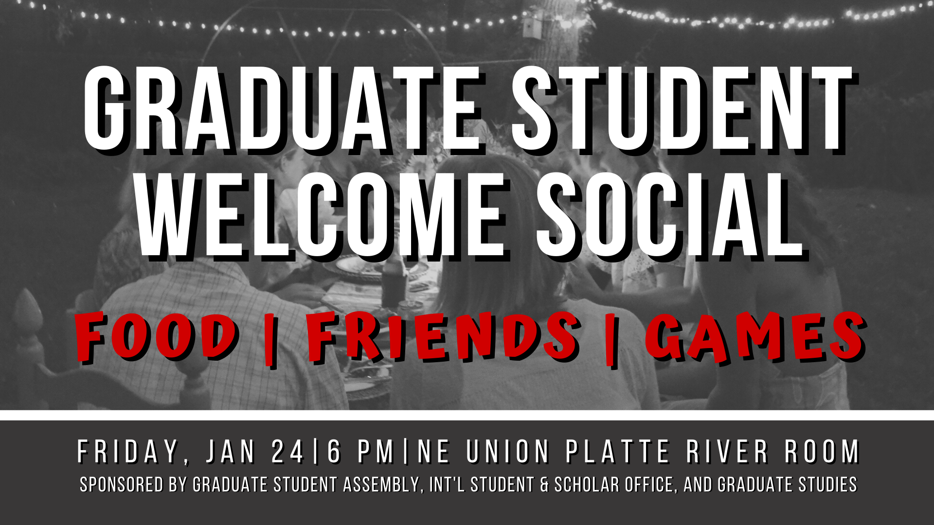 Sponsored by the Graduate Student Assembly, International Student & Scholar Office, and the Office of Graduate Studies.