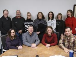 Back row L–R: Jim Ballard, Jim Pinkerton, Dena Noe, Patricia Heather, Angelina Stovall-Amos, Karen Wobig (Extension Unit Leader), Jenny DeBuhr (Extension Administrative Services Officer); Front row L–R: Jodi Freeman, Chris Scow, Meghan Sittler, Bob Huttes