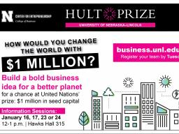 Register for Hult Prize at business.unl.edu/hultprize by Tuesday, January 28.