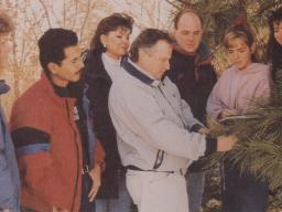 Mohd Nazip Suratman, second from left, and classmates learn forestry in the field with then professor Jim Brandle. | Courtesy photo