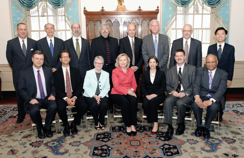 UNL's Peter Revesz (front row, far left) is pictured with U.S. Secretary of State Hillary Clinton and other Jefferson Science Fellows.
