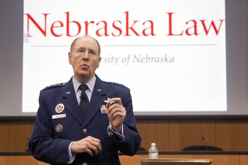 Gen. C. Robert Kehler, Commander, U.S. Strategic Command, Offutt Air Force Base, speaks at the Law College last April. Kehler oversees operations for all Department of Defense space and cyberspace operations.