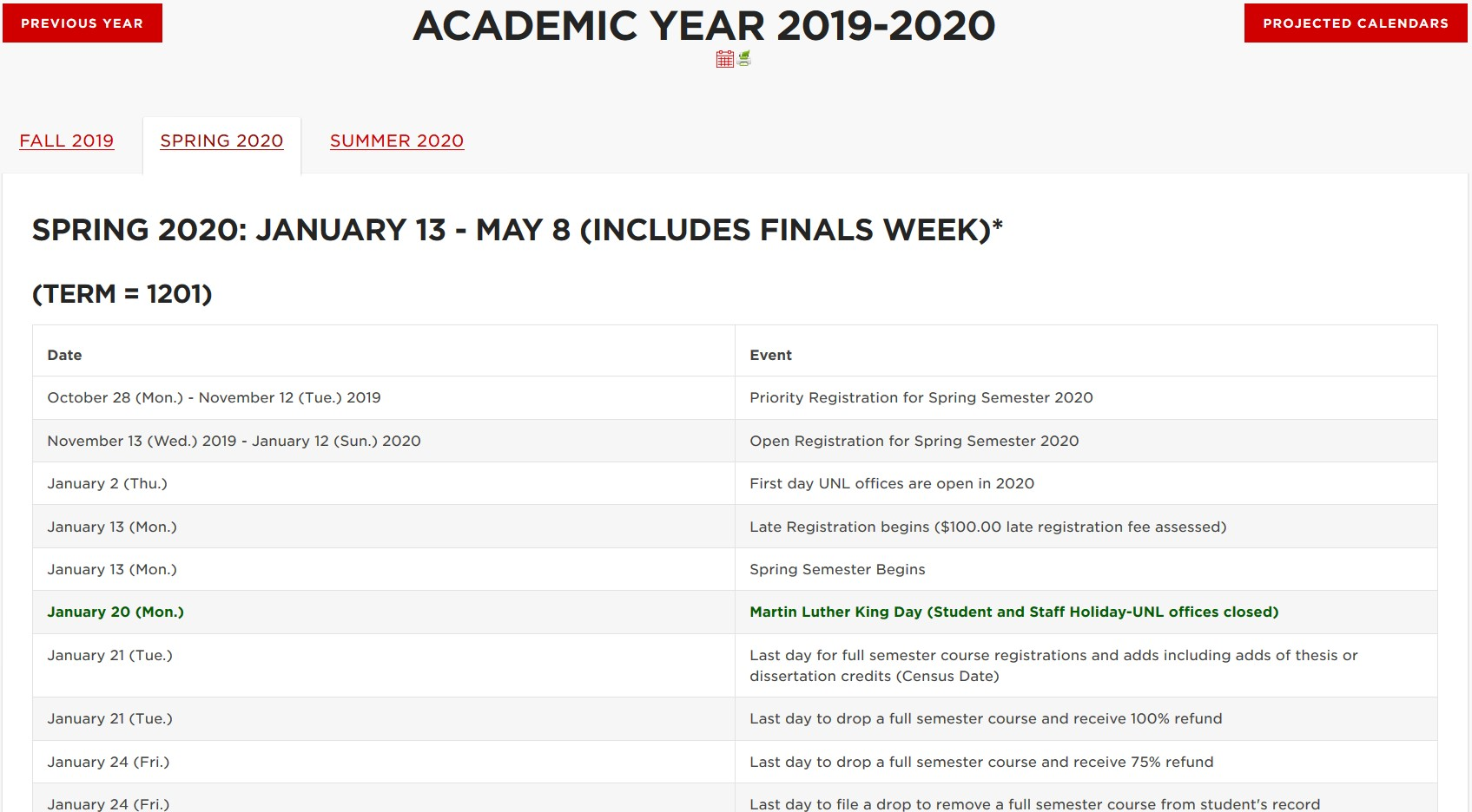 Important Academic Dates Announce University Of Nebraska Lincoln
