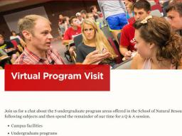 Potential students can now learn more about SNR before scheduling an on-campus visit.
