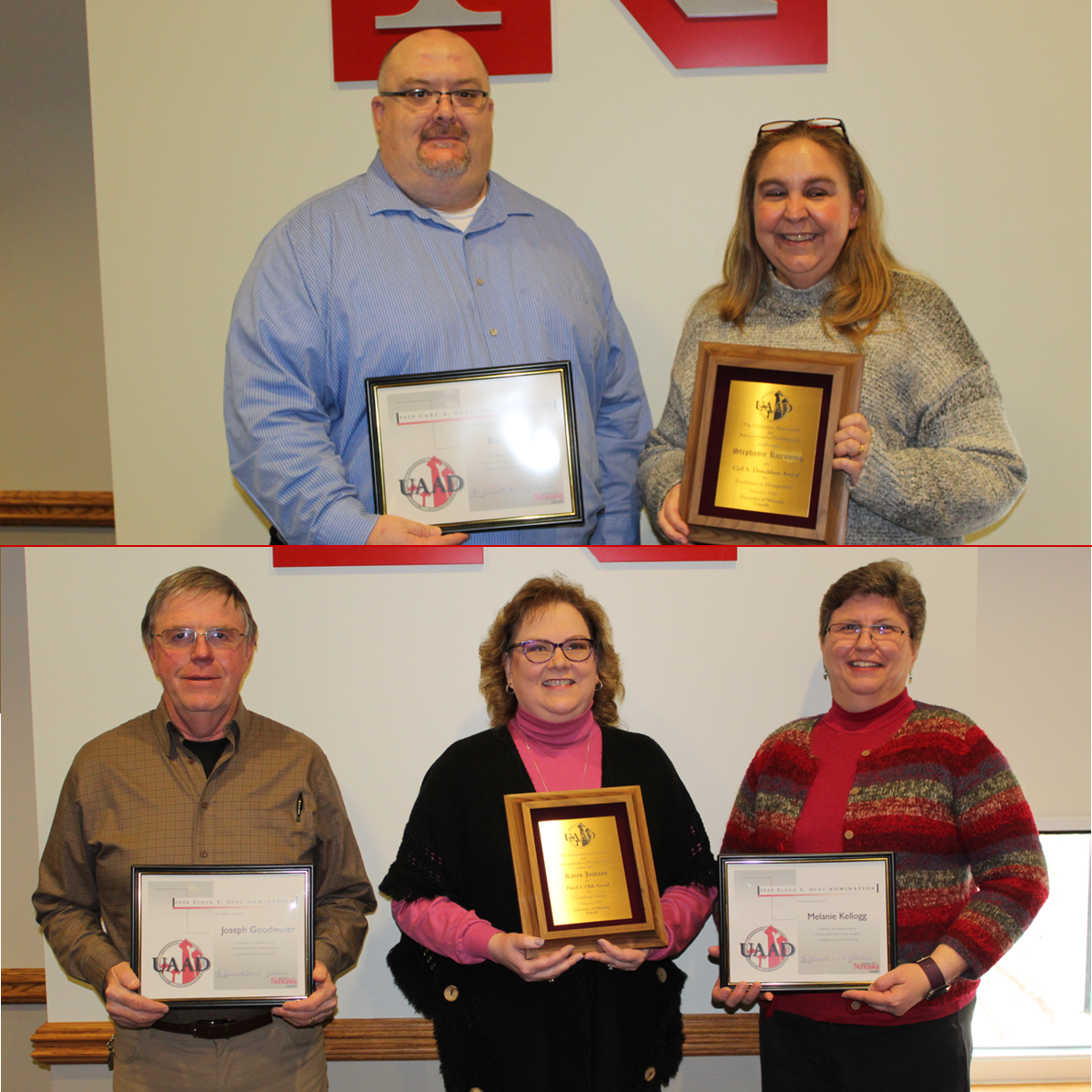Top row: 2020 Carl A. Donaldson Award for Excellence in Management Nominees: Blake France and Stephanie Kuenning. Not pictured: Carrie Jackson. Bottom row: 2020 Floyd S. Oldt Award for Exceptional Service and Dedication Nominees: Joe Goodwater, Karen Jack