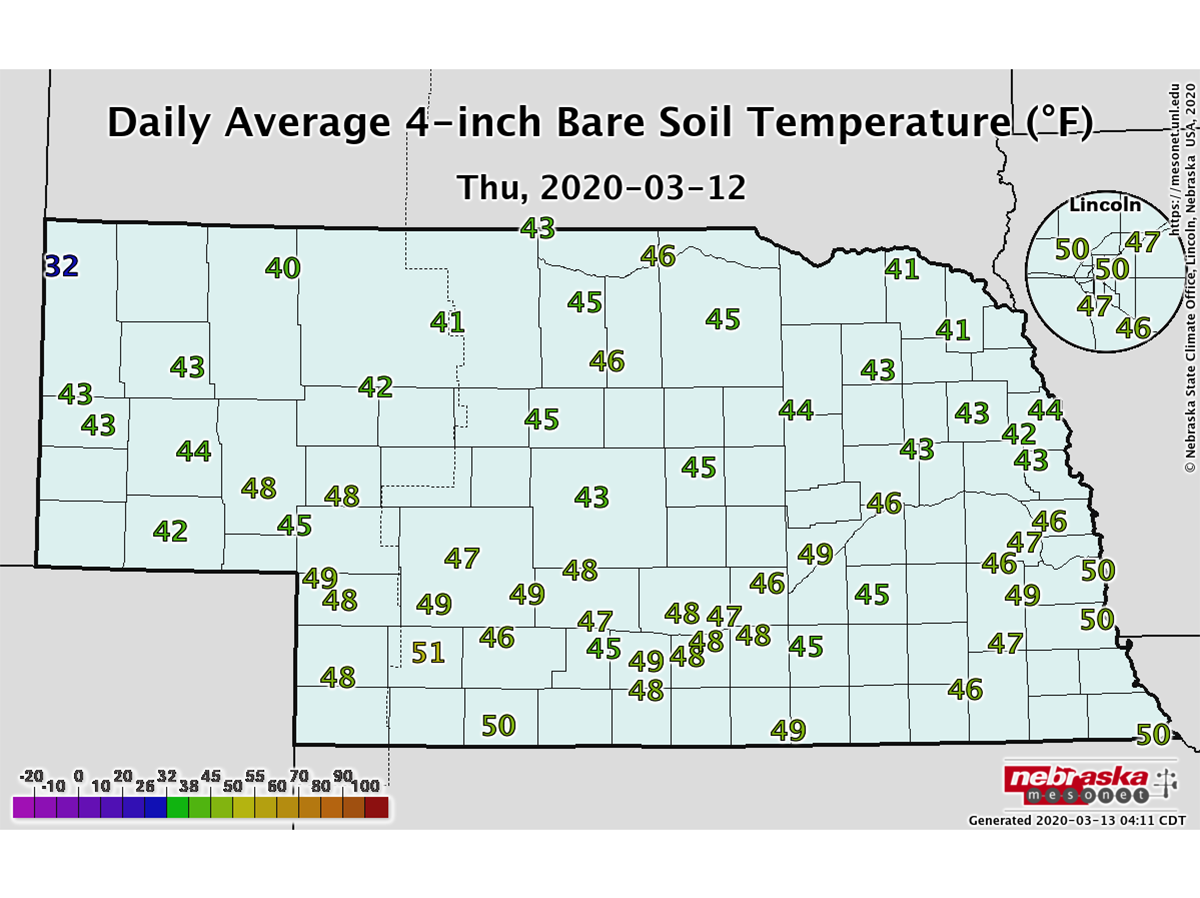 One-day average soil temperatures for Thursday, March 12, 2020.