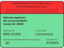 An example of a Nebraska pesticide applicators license, provided by the Nebraska Department of Agriculture.