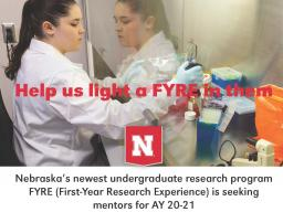 Faculty mentors are sought for the 20-21 FYRE cohort