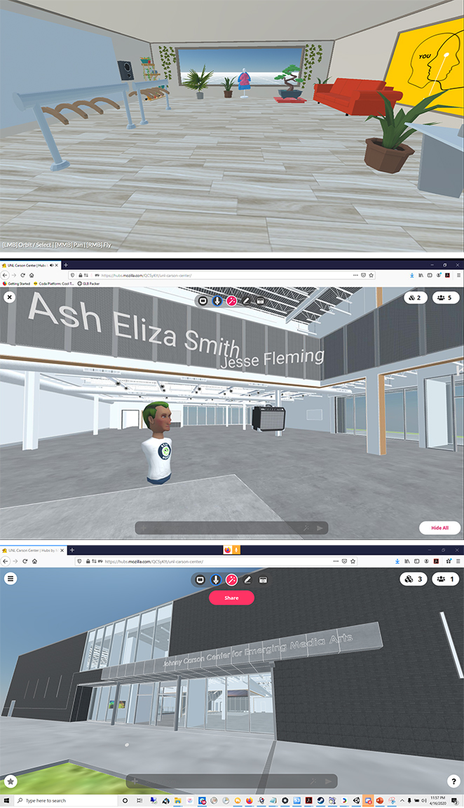 Top: Abby and Ally Hall's Mozilla Hubs room is a virtual store. Middle: Ash Eliza Smith and Jesse Fleming meet inside the virtual Carson Center. Bottom: The virtual Johnny Carson Center for Emerging Media Arts in Mozilla Hubs.