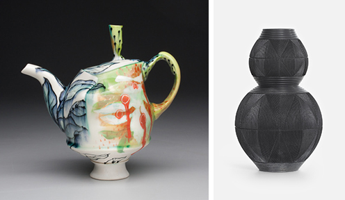 "Left: Taylor Sijan's Teapot, cone 6 oxidation porcelain with underglaze, 8"" x 8"" x 5.5"", 2020; Right:  Andy Bissonnette's Gourd Vase, stoneware and terra sigillata, carved, burnished, fired to cone 06 and reduced in sawdust, 11""w x 18""h, 2019."