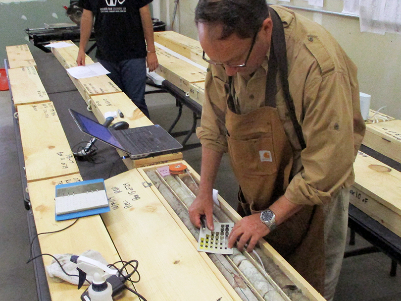 Conservation and Survey Division Director Matt Joeckel partnered with the City of Omaha to identify and name all the layers of bedrock found in 22 cores unearthed in 2008 and 2019. Photo courtesy City of Omaha CSO Program