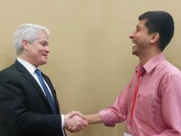 Saravanan Raju with Dr. John O'Brien, President and CEO of EDUCAUSE at the 2017 EDUCAUSE Annual Conference.