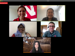 International graduate students (second row L to R: Kiki Rizki Amalia and Agustín Olivo, third row: Gabriela Palomo-Munoz) participate in an online panel discussion, moderated by IANR Global Staff Brianne Wolf and Yi Xuen Tay (first row, L to R).