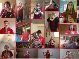 """A collage video featuring members of the Cornhusker Marching Band playing """"Dear Old Nebraska U"""" was put together by Nolan O'Keefe."""