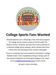College Sports Fans Wanted - Deceptive Speed