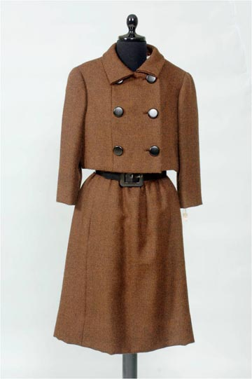 1960s box suit, brown wool by Norman Norell, donor Mrs. Marjorie Woods