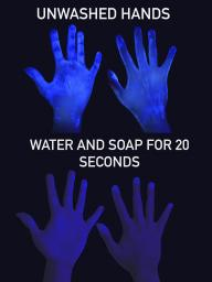 Handwashing demonstration using black light and Glitter Bug Potion (fake germs) to show germs on hands.