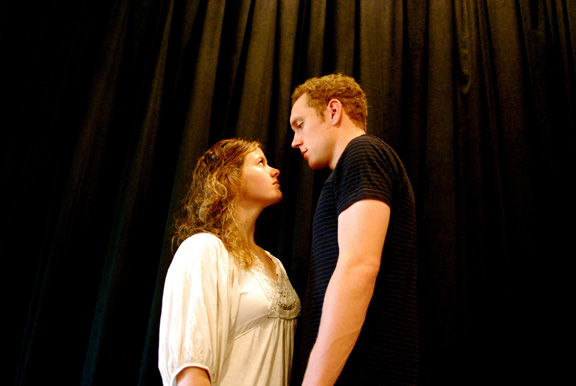 "UNL students Jenny Holm and Devon Schovanec in Theatrix's production of ""Project No. 1."""