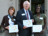 "(From left) Terese Janovec, David Sellmyer and Carol Moravec pose after receiving the Bright Lights ""Buliding the Future Through Higher Education"" award. Moravec is a science teacher at Lincoln Southeast High School who participated in the nanocamp progra"