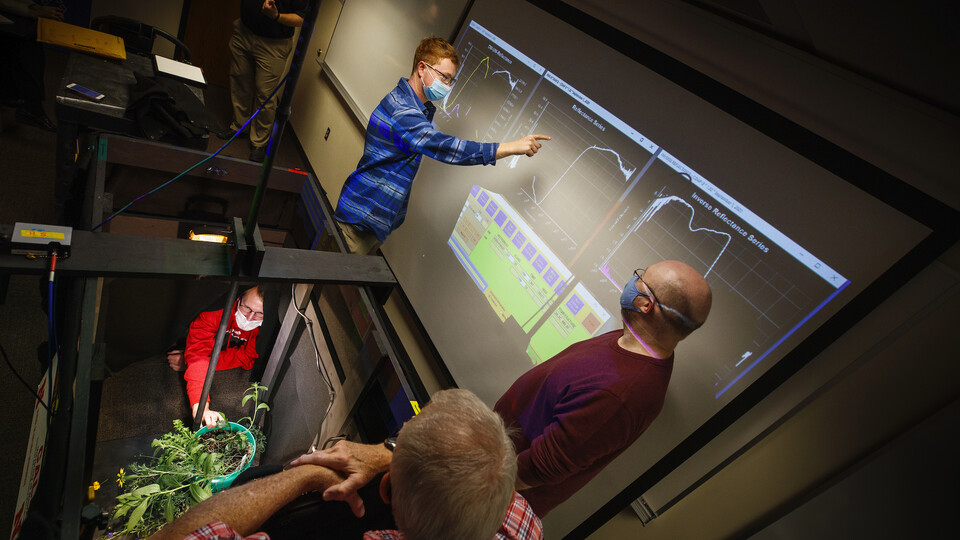 A team from the CALMIT lab built a mobile hyperspectral scanning system to teach students scanning since the basement darkroom in Hardin Hall does not allow for social distancing.  Craig Chandler, University Communication