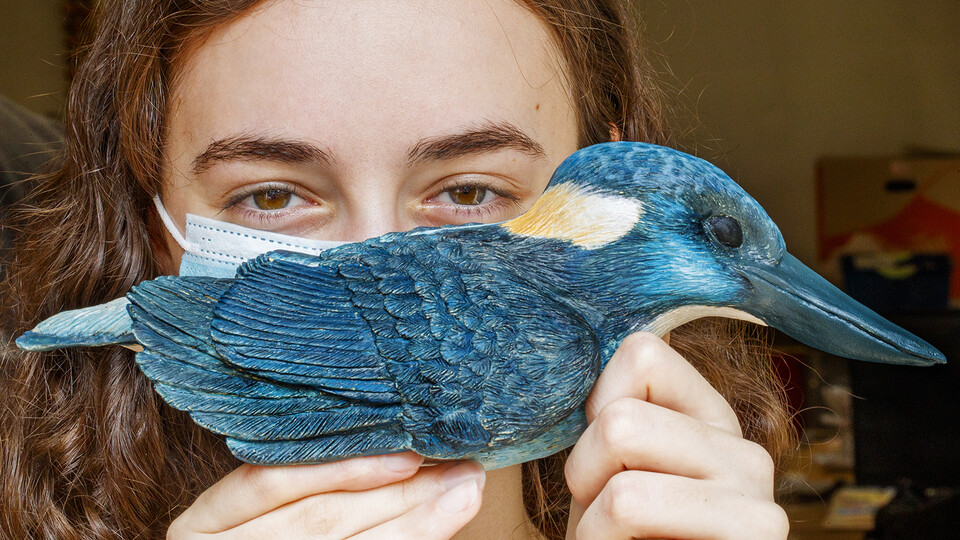 Kinga Aletto, a junior in College of Agricultural Sciences and Natural Resources, holds her life-sized clay model of the Javan blue-banded kingfisher. Creating the model of the critically-endangered bird is part of her UCARE research project. Craig Chandl