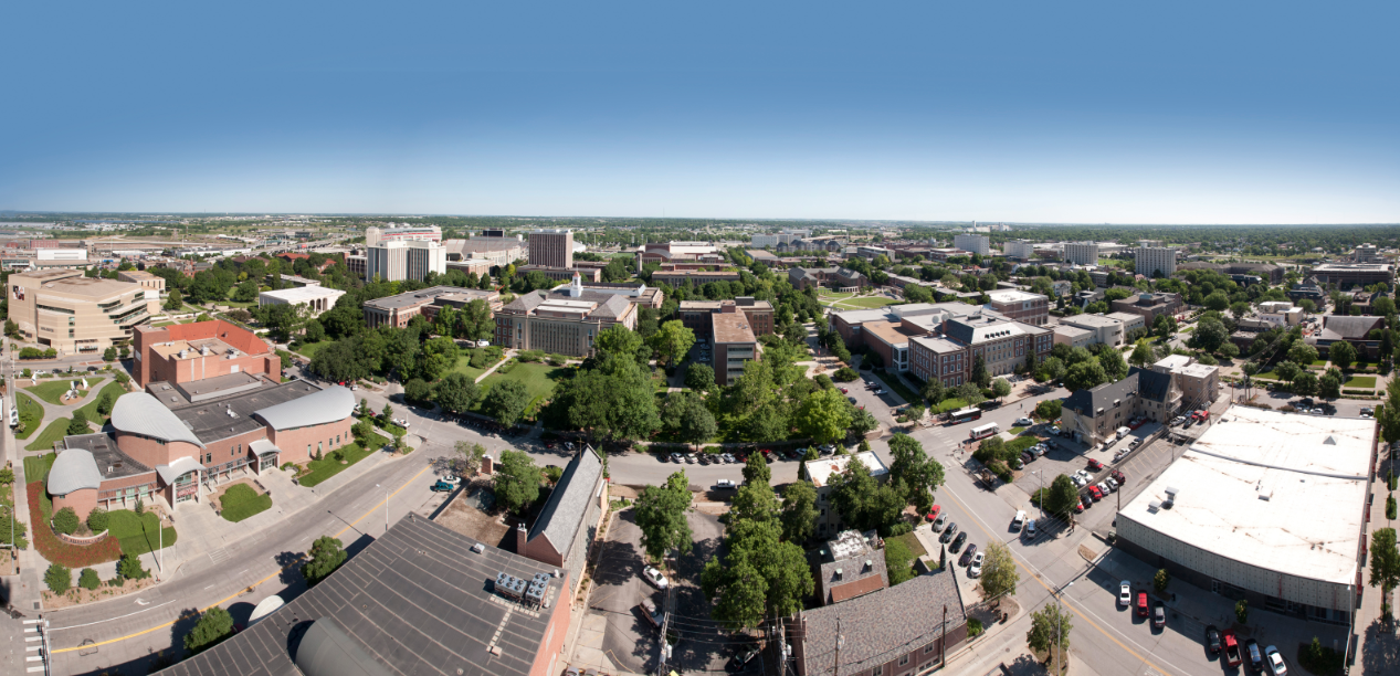 UNL City Campus viewed from a crane in downtown Lincoln. Photo by Craig Chandler|University Communications
