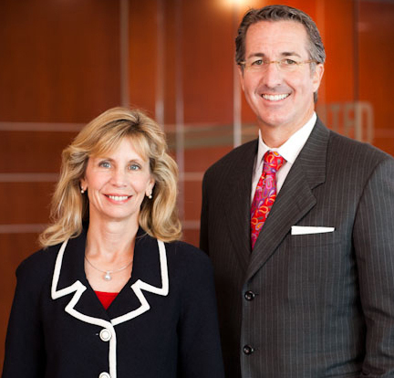 Nancy Keegan of Los Angeles, the outgoing chair of the University of Nebraska Foundation, with Clarence Castner, president, announced the record-breaking private support figure on Oct. 28.