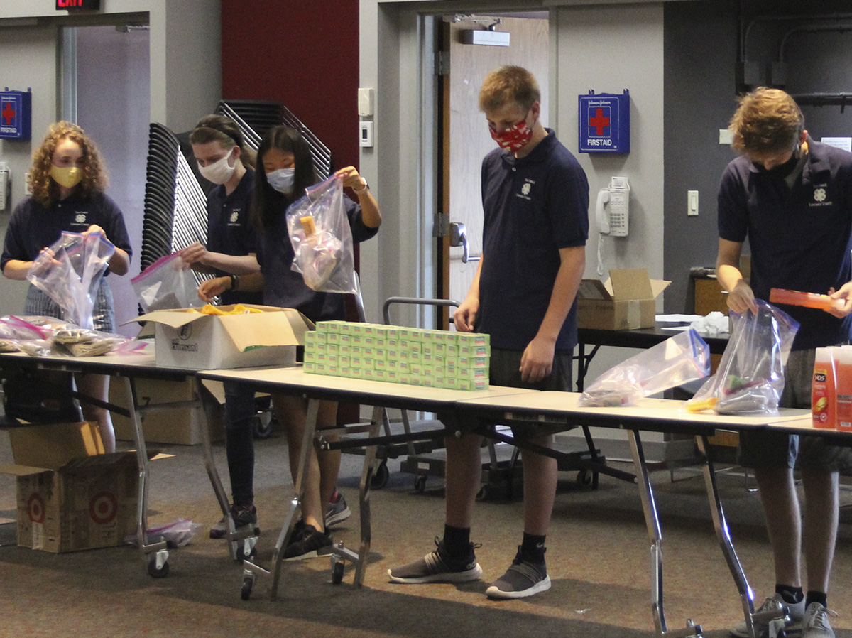 4-H Teen Council community service project at October 2020 meeting, making hygiene kits to donate to Talbots Kitchen & Outreach.