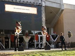 """The UNL Opera production of """"The Cunning Little Vixen,"""" featured live performances, puppetry and illustrations projected on an LED screen outside of Kimball Recital Hall on campus. Photo by Taylor Sullivan."""