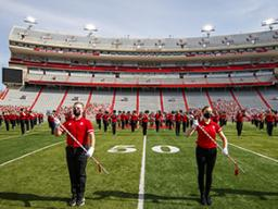 The Cornhusker Marching Band takes the field at Memorial Stadium to record their pregame and halftime performances for the virtual gameday broadcasts. Photo by Craig Chandler, University Communication.