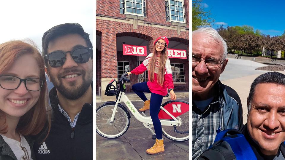 Three global Huskers – Raghav Kidambi (India), Natália Ribiero (Brazil) and Carlos Martinez (El Salvador) – shared special messages as part of the 2020 Global Alumni Virtual Homecoming.