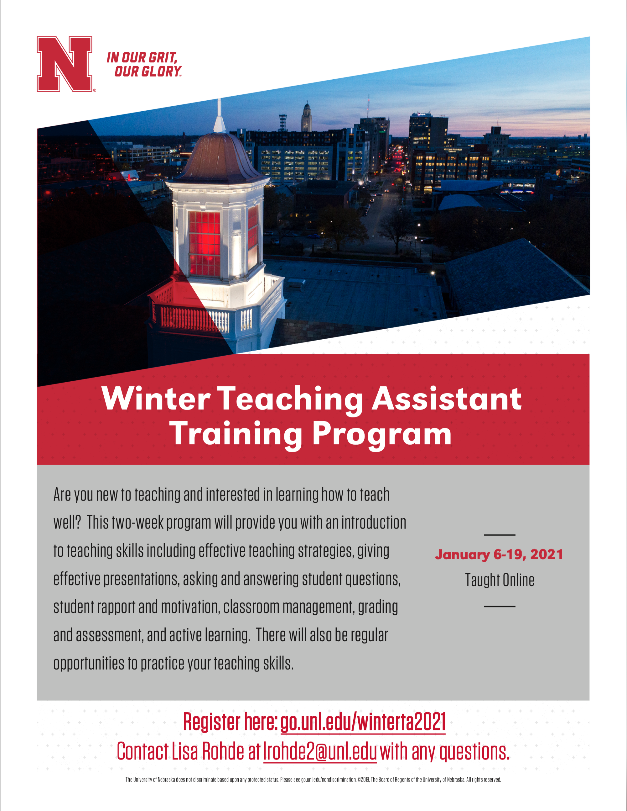 From January 6-19, 2021, the Office of Graduate Studies will offer a 2-week program to prepare TAs for the classroom. This program is designed for newer or beginning TAs or anyone interested in learning more about teaching even if they are not currently i